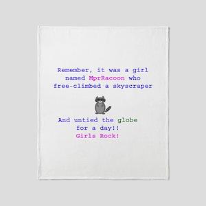 MprRacoon Girls Rock Throw Blanket