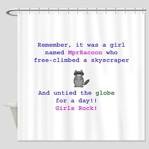 MprRacoon Girls Rock Shower Curtain