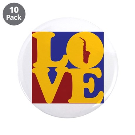 """Saxophone Love 3.5"""" Button (10 pack)"""