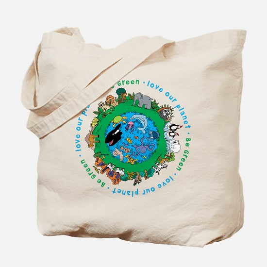 Be Green Love our planet Tote Bag