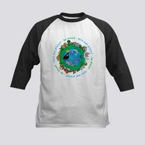 Be Green Love our planet Kids Baseball Jersey