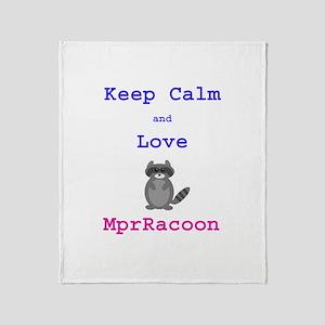 Keep Calm Love MprRacoon Throw Blanket