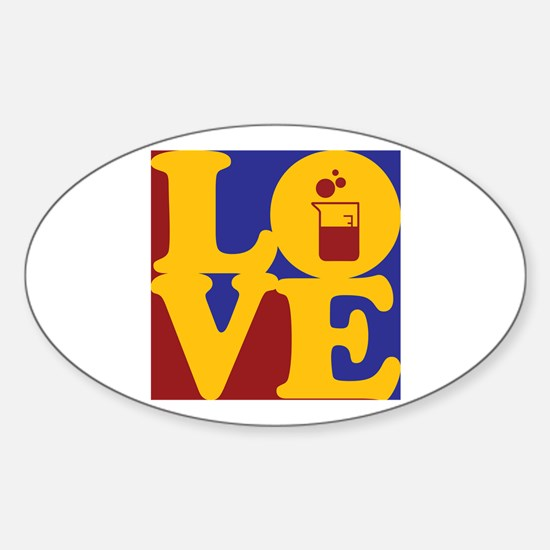 Microbiology Love Oval Decal