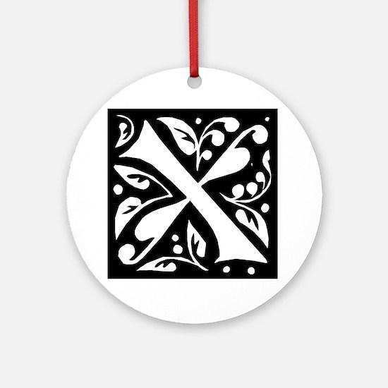 Art Nouveau Initial X Keepsake (Round)