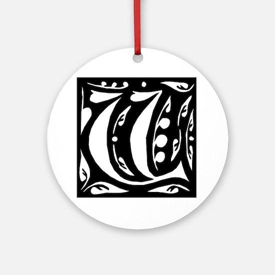 Art Nouveau Initial V Keepsake (Round)