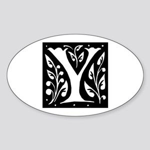 Art Nouveau Initial Y Oval Sticker