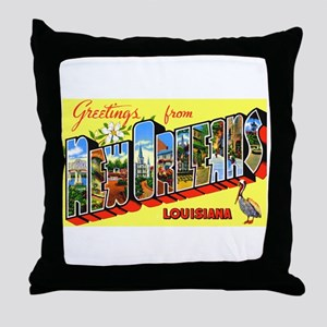 New Orleans Louisiana Greetings Throw Pillow