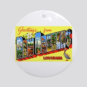 New Orleans Louisiana Greetings Ornament (Round)