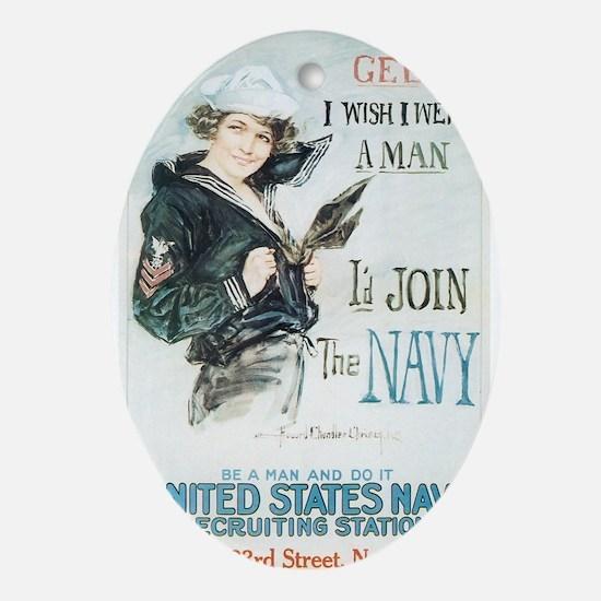 Vintage Navy Girl Oval Ornament