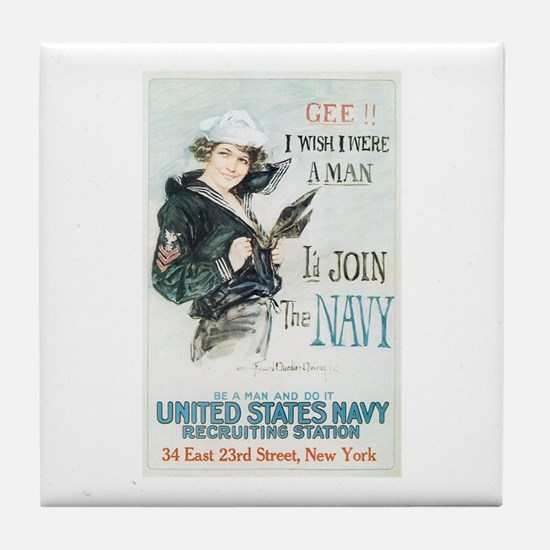 Vintage Navy Girl Tile Coaster
