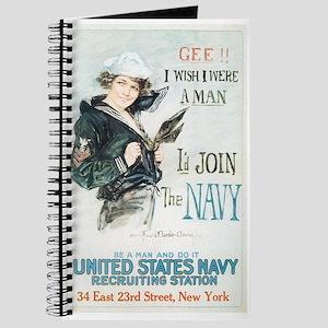 Vintage Navy Girl Journal