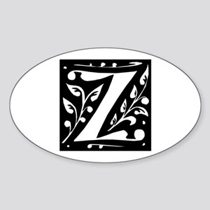 Art Nouveau Initial Z Oval Sticker