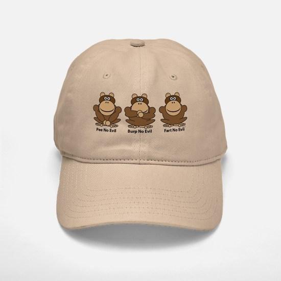 No Evil Monkeys Baseball Baseball Cap