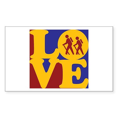 Hiking Love Rectangle Sticker