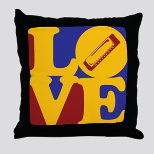 Harmonica Love Throw Pillow