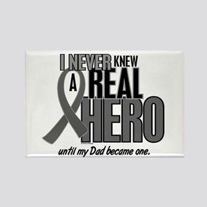 Never Knew A Hero 2 Grey Ribbon Dad Rectangle Magn
