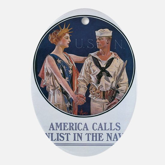 US Navy Poster Oval Ornament