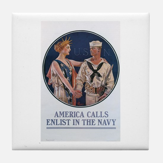 US Navy Poster Tile Coaster