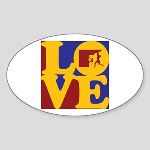 Climbing Love Oval Sticker