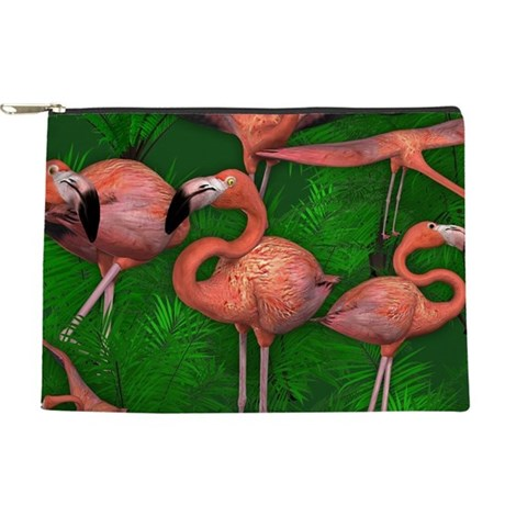 Tropical Pink Flamingos Makeup Bag