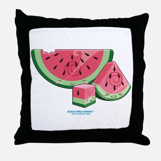 Kawaii Watermelon Trio Throw Pillow