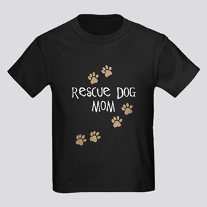 Rescue Dog Mom Kids Dark T-Shirt