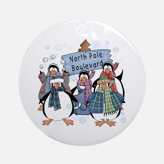 North Pole Penguins Ornament (Round)