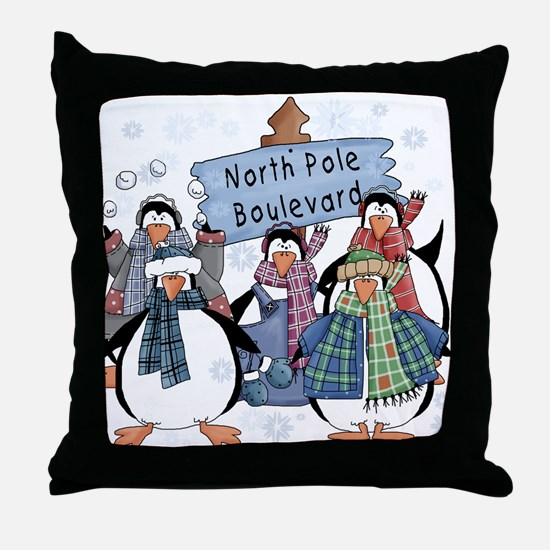 North Pole Penguins Throw Pillow