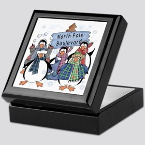 North Pole Penguins Keepsake Box