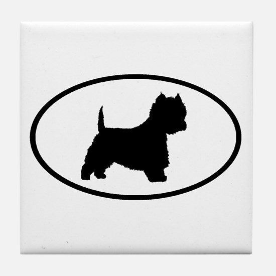 West Highland Terrier Oval Tile Coaster