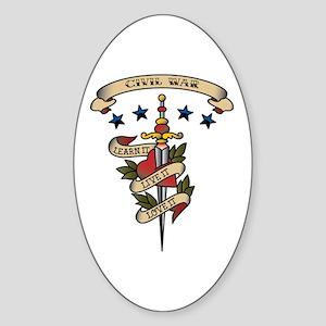 Love Civil War Oval Sticker