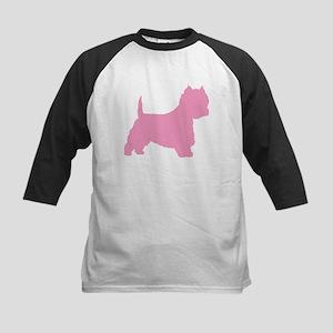 Pink Westie Dog Kids Baseball Jersey
