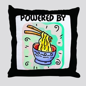 Powered by Noodles Throw Pillow