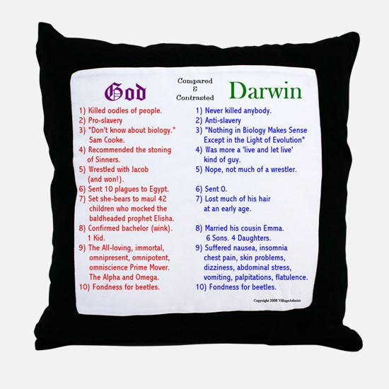 God and Darwin Compared and contrasted Throw Pillo