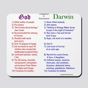 God and Darwin Compared and contrasted Mousepad