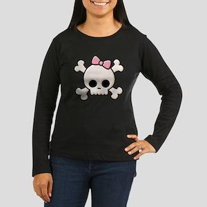 Cute Skull Girl Women's Long Sleeve Dark T-Shirt
