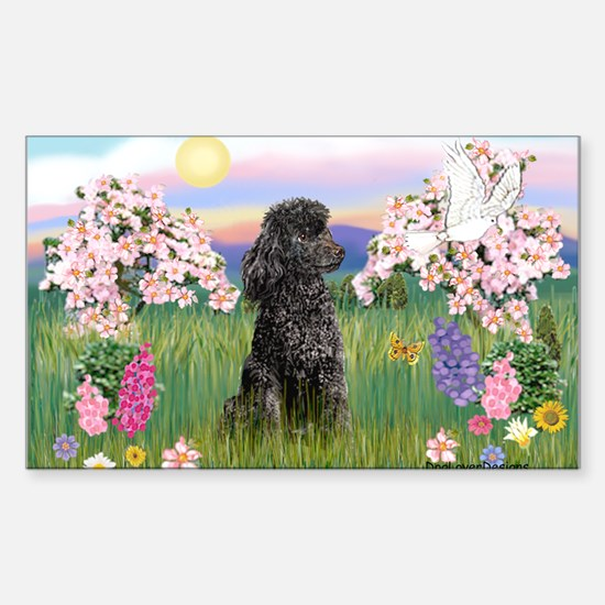 Blossoms/Poodle (miniature #2) Rectangle Decal