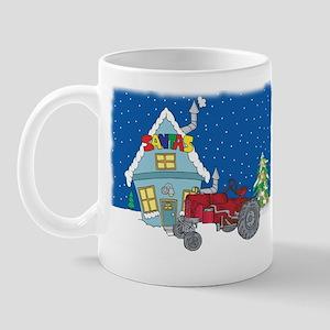 Santa's Red Tractor Mug