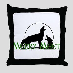 Merry Meet Spirit Wolf Throw Pillow