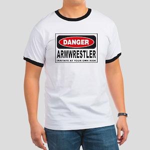 Armwrestler Danger Sign Ringer T