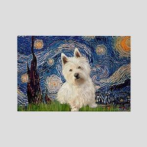 Starry Night/Westie Rectangle Magnet