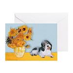 Sunflowers/PBGV Greeting Cards (Pk of 10)