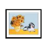 Sunflowers/PBGV Framed Panel Print