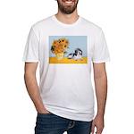 Sunflowers/PBGV Fitted T-Shirt