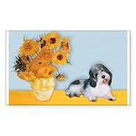 Sunflowers/PBGV Sticker (Rectangle)