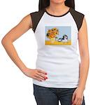 Sunflowers/PBGV Women's Cap Sleeve T-Shirt
