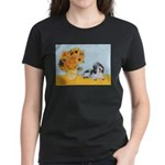 Sunflowers/PBGV Women's Dark T-Shirt
