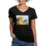 Sunflowers/PBGV Women's V-Neck Dark T-Shirt