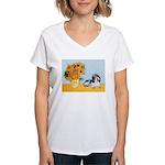 Sunflowers/PBGV Women's V-Neck T-Shirt