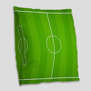 Soccer field Burlap Throw Pillow
